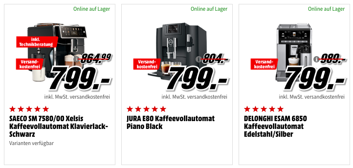 Media Markt ☕ Big Coffe Aktion: günstige Maschinen, Zubehör und Kaffe