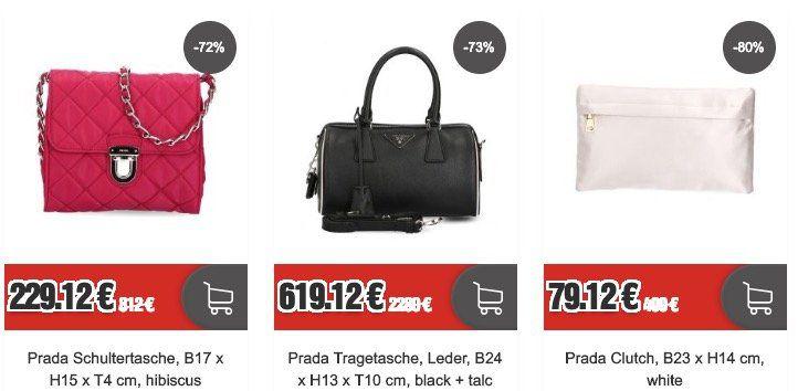 Prada Sale bei Top12 + 12% Gutschein   z.B. Schultertasche mit Kettenriemen für 201,63€ (statt 410€)