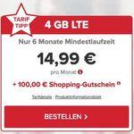 Knaller! 🔥 o2 Allnet-Flat mit 4GB LTE für 14,99€ mtl. mit nur 6 Monate Laufzeit + 100€ BestChoice Gutschein
