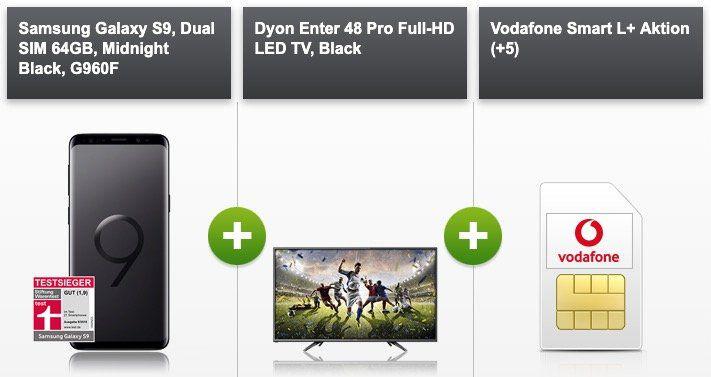 Samsung Galaxy S9 + Dyon 48 FHD TV für 99€ + Vodafone Allnet Flat mit 7GB LTE für 36,99€ mtl.