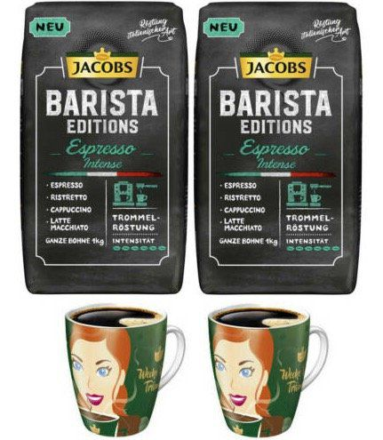 2kg Jacobs Barista Editions Espresso Intense (ganze Bohne) + 2 Ritzenhoff Becher für 19,99€ (statt 37€)