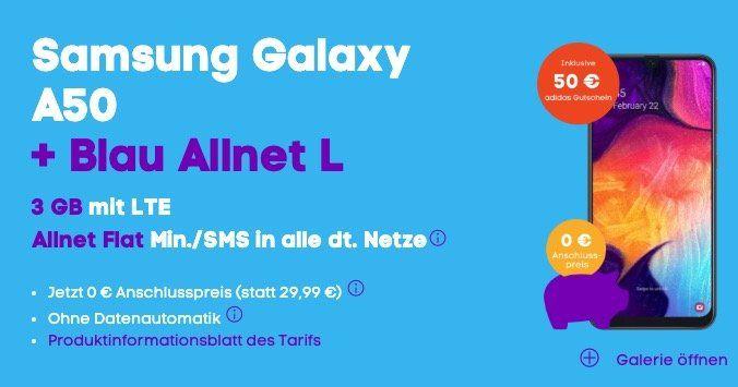 Samsung Galaxy A50 mit 128GB für 1€ + o2 Allnet Flat mit 3GB LTE für 17,99€ mtl. + 50€ adidas Gutschein