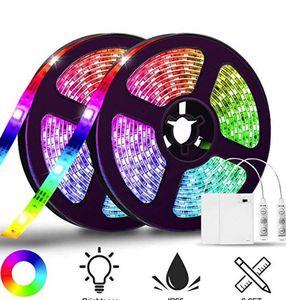 2x 2m LED Streifen (SMD5050) mit 20 Farben, 20 Modi & IP65 für 12,45€   Prime