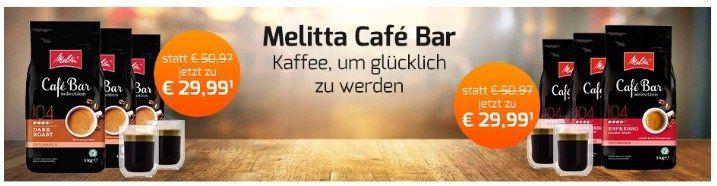 3kg Melitta Cafe Bar Kaffeebohnen inkl. 2 doppelwandige Gläser für 29,99€