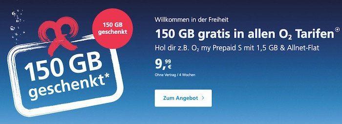 Tipp! o2 Prepaid Karte kostenlos bestellen + 150GB (für 28 Tage) geschenkt   einmalig 15€ aufladen