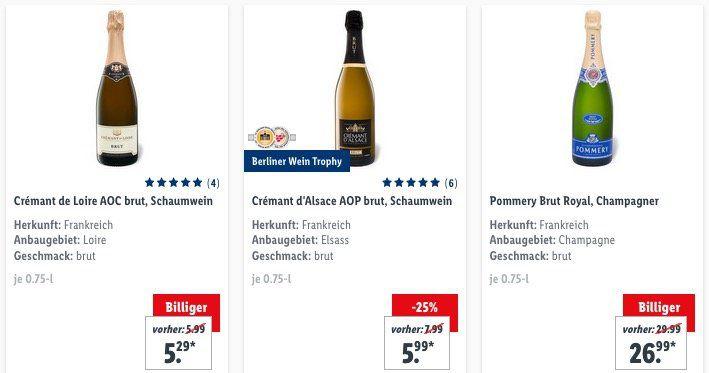Bei Lidl heute keine Versandkosten (50€ MBW) bezahlen   günstig z.B. Wein oder Sekt bestellen