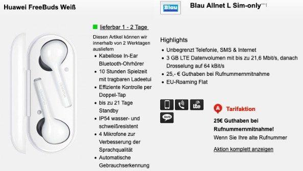 🔥 Huawei FreeBuds für 4,95€ (statt 100€) mit Blau.de Allnet Flat im O2 Netz mit SMS und 3GB LTE mtl. 7,99€
