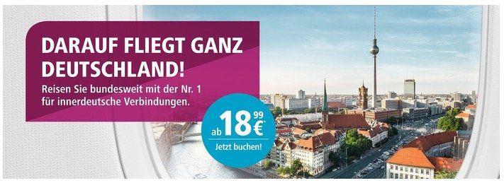 Eurowings Sparflugwochen: bis Sonntag innerdeutsche Flüge ab 18,99€ z.B. Köln nach Berlin