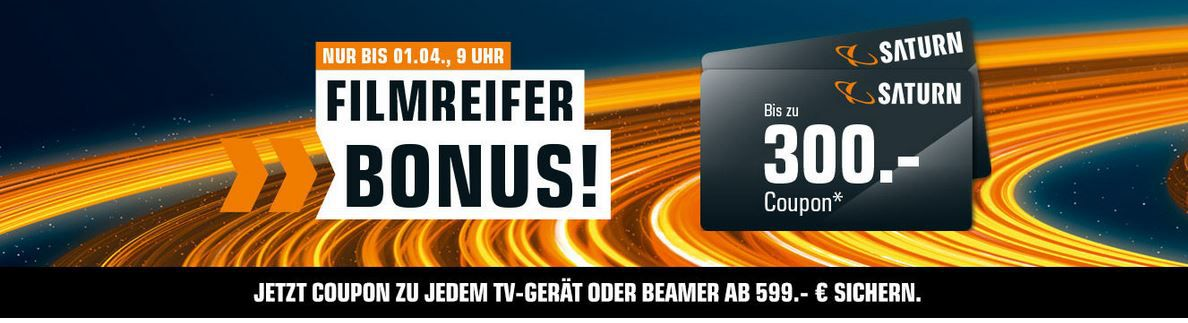 Bis Mitternacht! Saturn: bis zu 300€ Coupon Bonus beim Kauf von TVs und Beamer z.B. 65″ Sony KD 65XF8505 für 1099€ + 150€ Gutschein (statt 1198€)