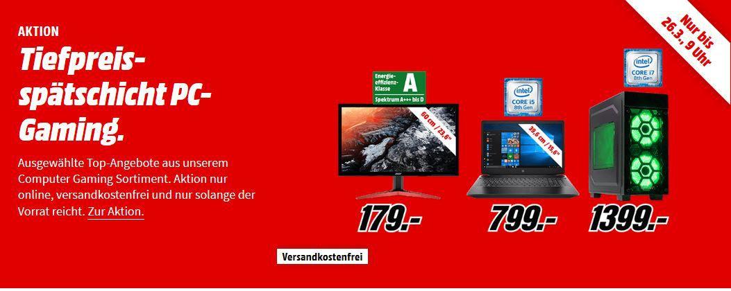 Media Markt PC & Gaming Tiefpreisspätschicht   z.B. HP 690 0018ng Gaming PC mit Core i5  für 616€ (statt 799€)
