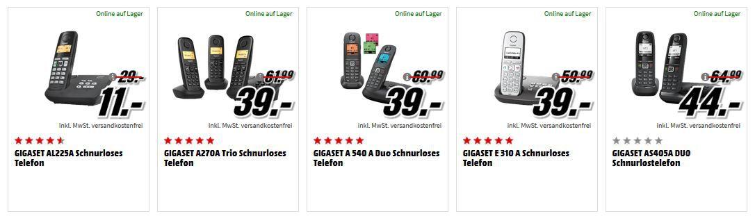 Media Markt Gigaset Tiefpreisspätschicht   günstige Schnurlostelefone   z.B. GIGASET AS405A DUO Schnurlostelefon für 44, € (statt 60€)