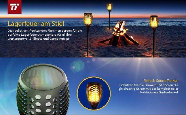2 TaoTronics Solarleuchten mit realistischer Flammen für 29,99€ (statt 40€)