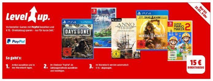 Saturn & MediaMarkt: 15€ Direktabzug bei ausgewählten Games bei Paypal z.B. Zelda: Links Awakening nur 49,99€ (statt 66€)