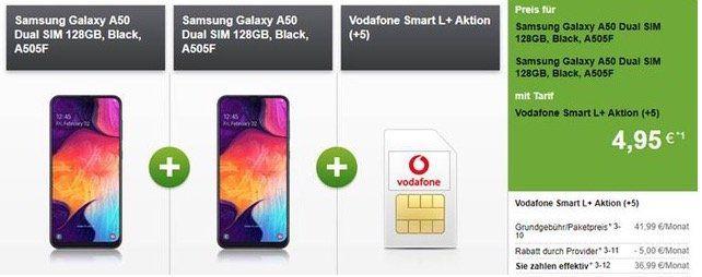 📱 2x Samsung Galaxy A50 für 4,95€ + Vodafone Allnet Flat mit 7GB LTE für 36,99€ mtl.