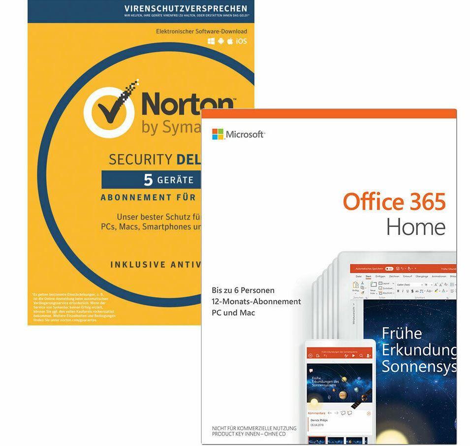 Microsoft Office 365 Home 6 Nutzer 1 Jahr PC Mac + Norton Security Deluxe 5 Nutzer für 73€ (statt 99€)