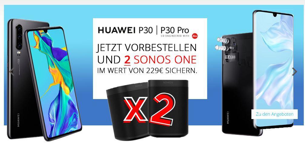 Huawei P30 Pro für 99€ + gratis 2x Sonos One (Wert 400€) + Vodafone Allnet Flat mit 11GB LTE Max für 46,99€