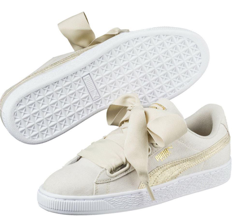 PUMA Basket Heart Patent Damen Sneaker Weiß, Rosa u. Beige für 29€ (statt 45€)