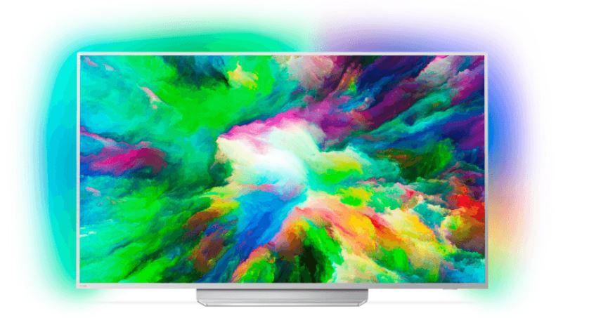 PHILIPS 49PUS7803   49 Zoll Android UHD TV mit Ambilight (3 Seiten) für 549€ (statt 610€)