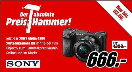 Sony Alpha 6300 Systemkamera inkl. 16 50mm Objektiv für 666€(statt 716€)