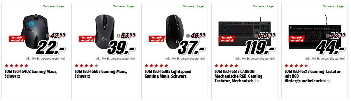 Media Markt Gaming Tiefpreisspätschicht   z.B. LOGITECH G213 Gaming LED Tastatur für 44€ (statt 53€)