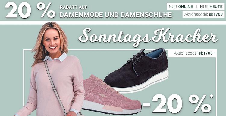 Karstadt Sonntags Kracher u.a. mit 20% Rabatt auf Damenschuhe und 15% auf Reisegepäck