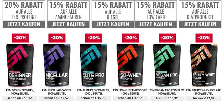 20% Rabatt auf ESN Protein oder 15% auf Aminos, Low Carb  und Diätprodukte bei fitmart
