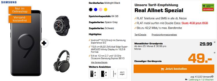 Knaller! Samsung Galaxy S9+ inkl. Sennheiser HD 4.50 + Galaxy Gear S3 frontier für 88,99€ + Allnet Flat im Vodafone Netz mit 8GB für 29,99€ mtl.