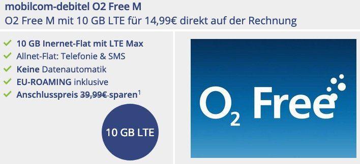 SimOnly O2 Free M mit 10GB LTE für 14,99€ mtl.