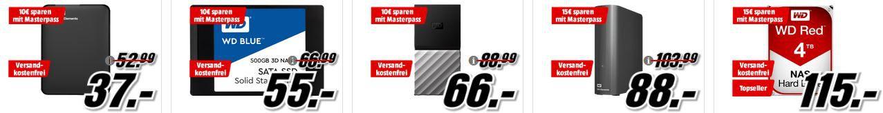 Media Markt Mega Technik Marken Sparen: günstige Artikel von HP, Hyrican, WD, SanDisk und Captiva