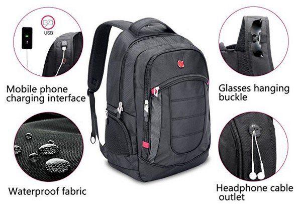 XY Life Notebook Rucksack mit USB Ladeanschluss in Schwarz für 17,99€ (statt 25€)