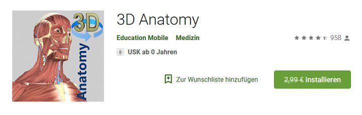 Abgelaufen! Android  & iOS App: 3D Anatomy kostenlos (statt 2,99€ oder 4,49€)