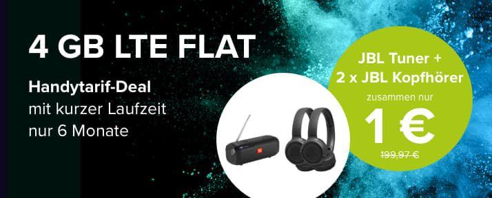 Knaller! 🔥 3 JBL Prämien (Wert 169€) + o2 Allnet Flat mit 4GB LTE für 14,99€ mtl. mit nur 6 Monaten Laufzeit