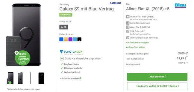 Galaxy S9 + LED View Cover + 120€ adidas Gutschein für 59€ + Blau Allnet Flat im O2 Netz mit 5GB LTE für 19,99€