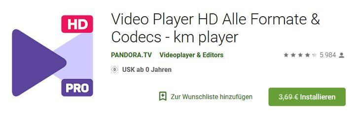 Android: Video Player HD Alle Formate & Codecs   km player gratis (statt 3,69€)