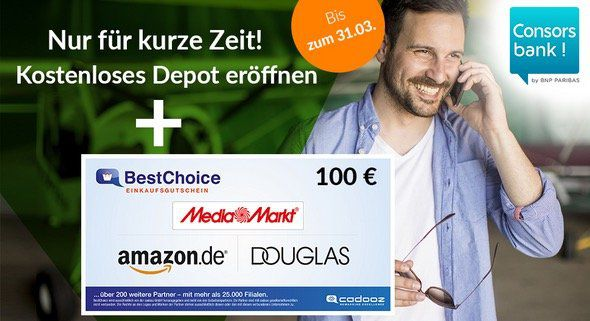 Consorsbank: Konsteloses Trader Konto mit 100€ BestChoice Gutschein   ab 3,95€ pro Trade