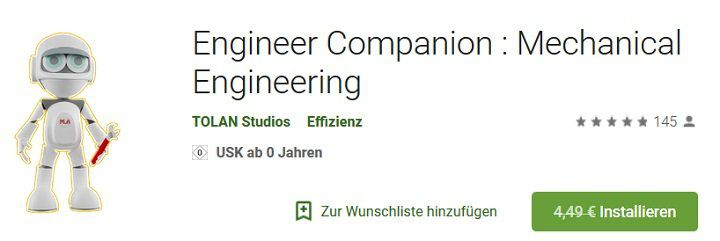 Abgelaufen! Android App: Engineer Companion: Mechanical Engineering gratis (statt 4€)