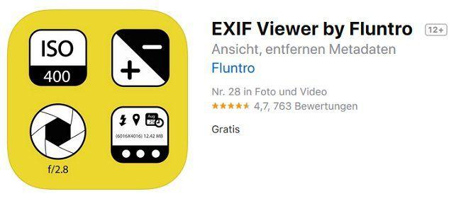 iOS App: EXIF Viewer by Fluntro gratis (statt 3,49€)