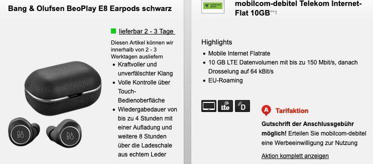 BeoPlay E8 Earpods oder JBL Extreme für 29,95€ + Telekom 10GB LTE Datentarif von mobilcom für 15,99€ mtl.