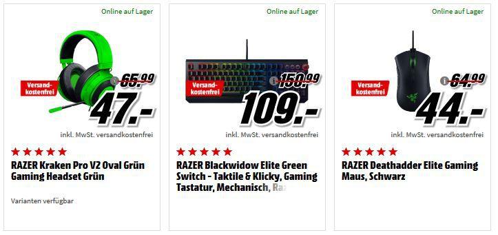 Media Markt Razer Tiefpreisspätschicht : z.B. Razer Electra V2 Gaming Headset für 39€ (statt 55€)