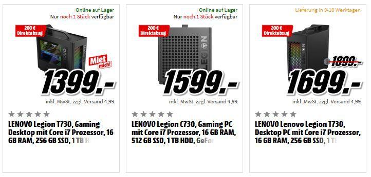 Media Markt Lenovo Gaming Notebooks & PCs mit 200 € Direktabzug   z.B. LENOVO Legion T730 Gaming Desktop für 1.199€ (statt 1.399€)