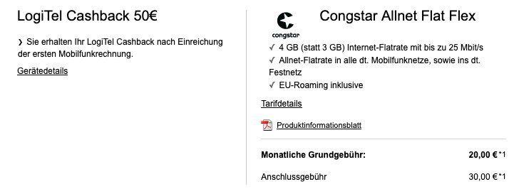 Congstar Allnet Flat Flex im Telekom Netz mit 4GB und SMS für mtl. kündbare 20€ + 50€ Cashback möglich