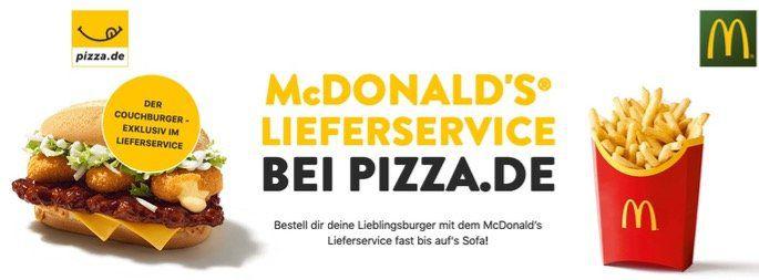 Pizza.de: McDonalds 🍔 Lieferservice 5€ Gutschein mit 12€ MBW auch Bestandskunden