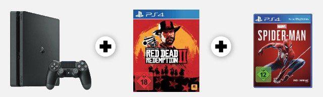PS4 Slim 1TB + Red Dead Redemption 2 + Spider Man für 349€ + 20€ Gutschein (statt 400€) bis Mitternacht