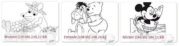 Gratis: Malvorlagen mit Winnie Pooh, Mickie Maus & dem Osterhasen von NUK