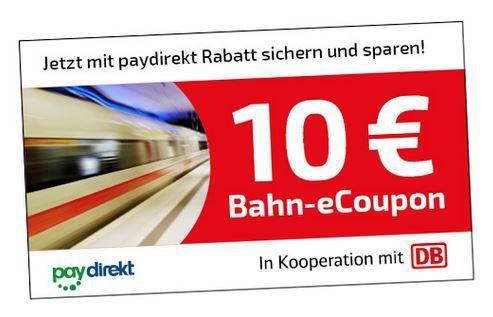 Tipp: 10€ Bahn eCoupon ab 29,90€ Tickets bei Zahlung mit paydirekt