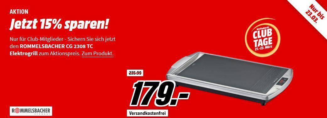 Rommelsbacher CG2308TC Ceran Tischgrill mit 2.000 Watt ab 152,15€ (statt 200€)