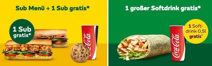 Subway Gutscheine Sub Menü mit 1 Sub Gratis   oder große Cola zu verschiedenen Wraps