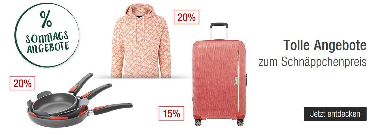 Galeria Kaufhof Sonntagsangebote   z.B. 20% Rabatt auf Haushaltswaren von LeCreuset, Fissler, Berndes   20% Rabatt auf viele Fashion Marken