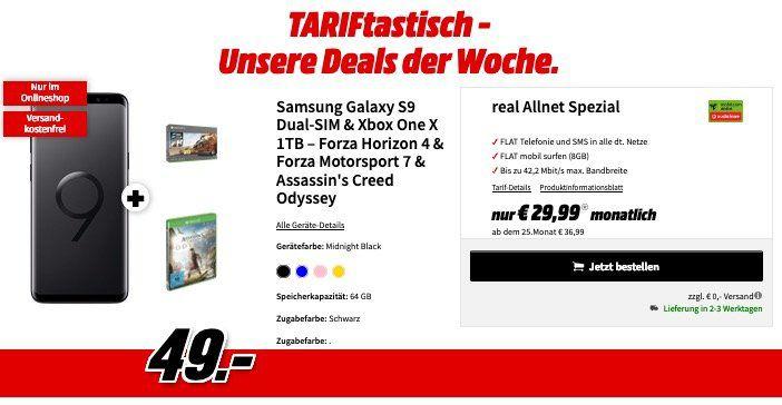 🔥 Samsung Galaxy S9 + Xbox One X + 3 Games für 49€ + Vodafone Allnet Flat 8GB für 29,99€ mtl.