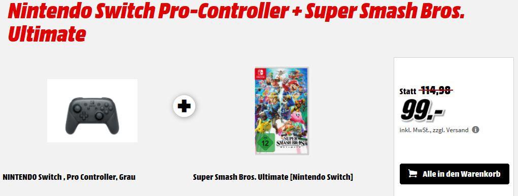 Nintendo Switch Pro Controller + Spiel z.B. New Super Mario Bros. für 99€ (statt 116€)